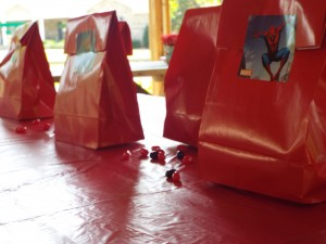 One more shot of the goody bags, lined up and waiting for the kids to come tear into them.