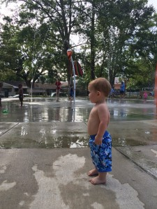 getting up the nerve to go in the splash pad