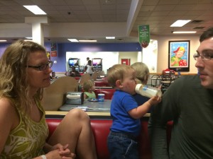 Sister + Husband gamely attended a kid birthday party at Chuck E. Cheese.  Note poor Baby's face - he spent a night with a mosquito.  He looks bad, but you shoulda seen the mosquito.
