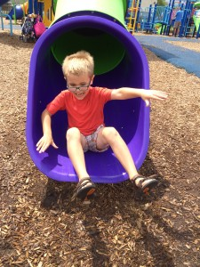 As usual, it took some courage for Jack to get down the slide, but eventually he conquered his fear
