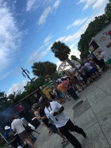 Food trucks, booths, beer carts . . . the works.