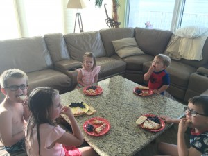 Occasionally the kids got the privilege of eating at the kids' table, instead of at the main table with us