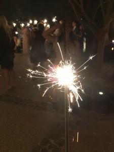 I've always wondered why we think giving a bunch of drunk people sparklers at the end of a party is a good idea . . . ;)
