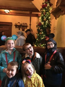 The kids waiting in line at Belle's house